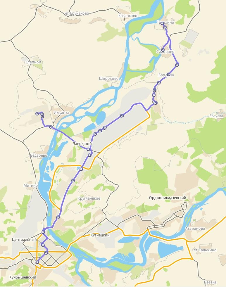 Автобус №102 АВТОВОКЗАЛ - ТЕРЕХИНО | Карта маршрута