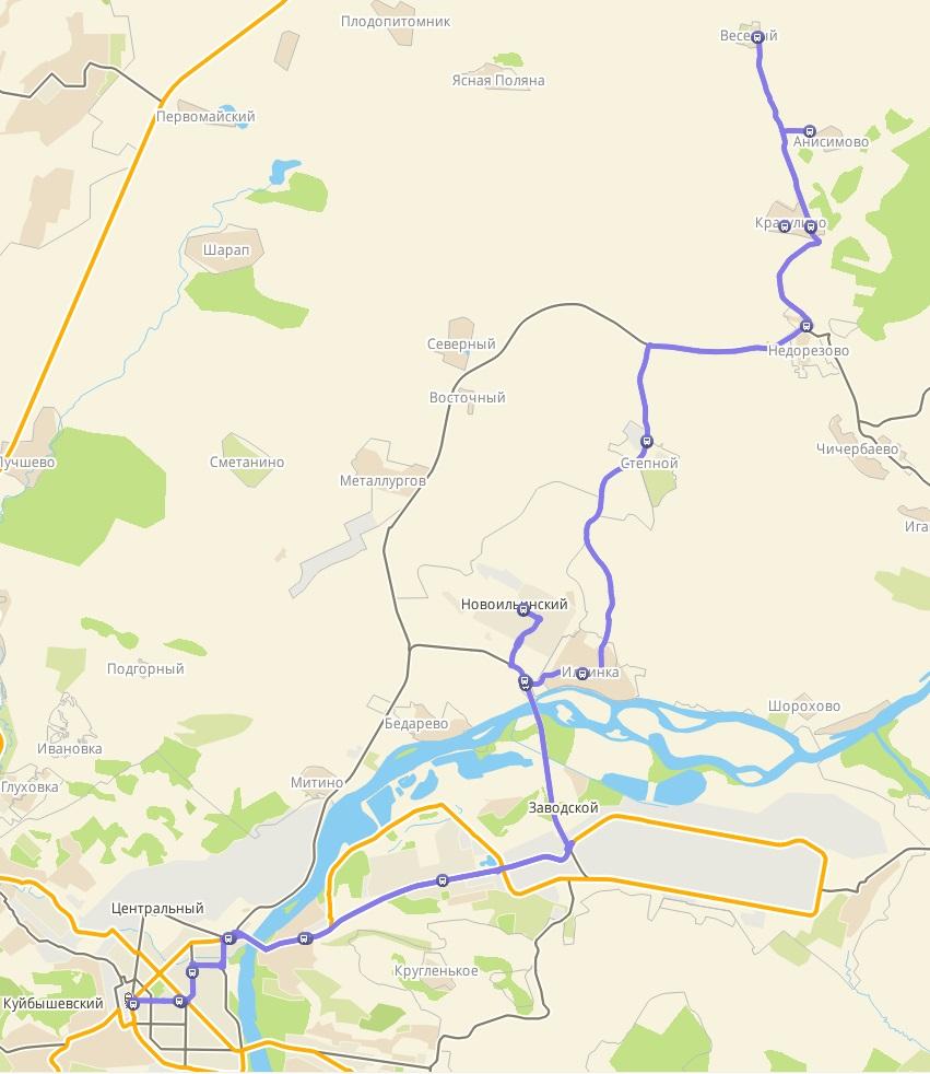 Автобус №104 АВТОВОКЗАЛ - КРАСУЛИНО - АНИСИМОВО - П. ВЕСЕЛЫЙ | Карта маршрута