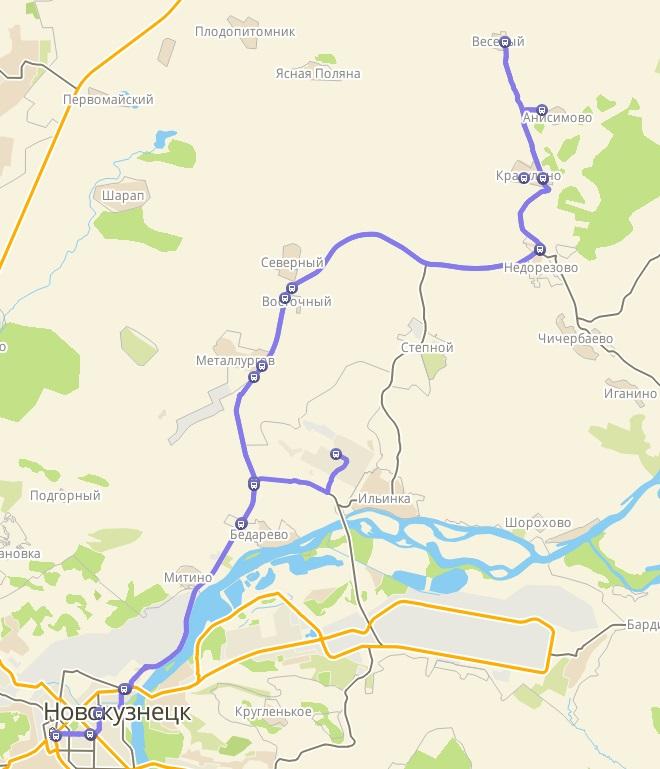 Автобус №104с АВТОВОКЗАЛ - КРАСУЛИНО - П. ВЕСЕЛЫЙ | Карта маршрута