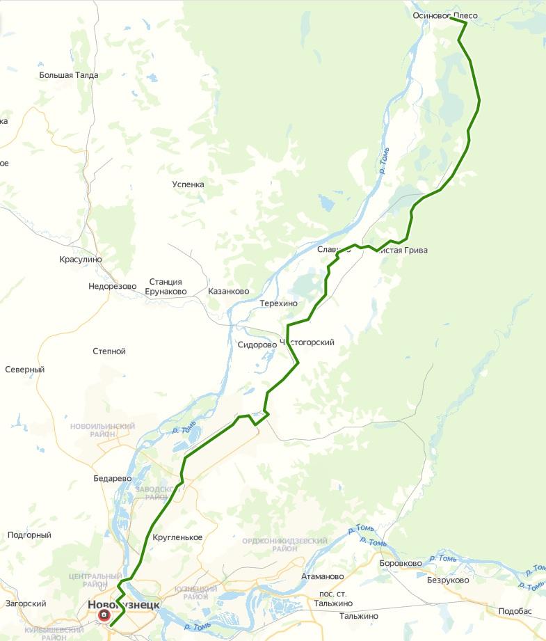 Автобус №105 АВТОВОКЗАЛ - ОСИНОВОЕ ПЛЕСО | Карта маршрута