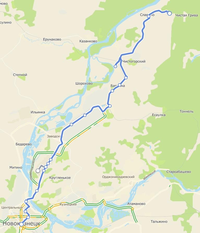 Автобус №105К АВТОВОКЗАЛ - ЧИСТАЯ ГРИВА | Карта маршрута