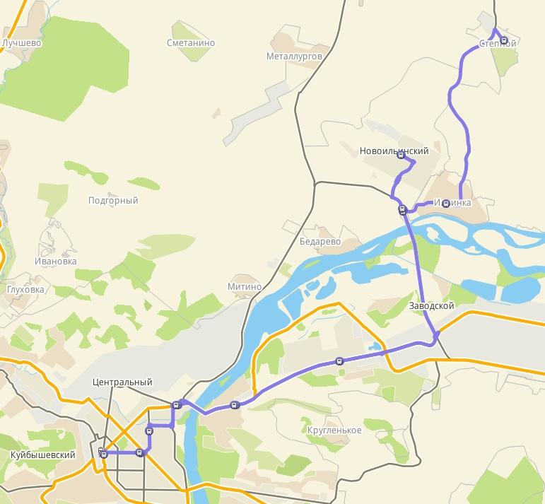 Автобус №108 ВОКЗАЛ - СТЕПНОЙ | Карта маршрута