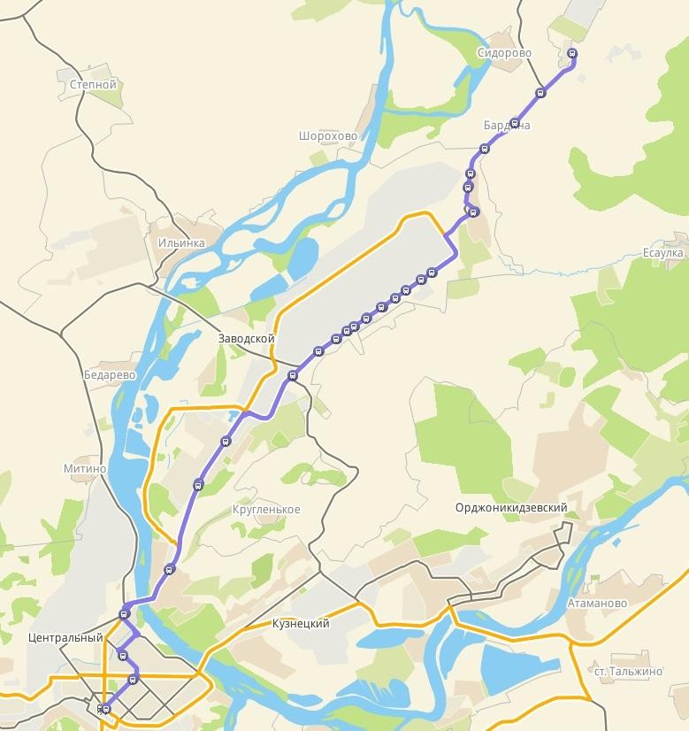 Автобус №110 ВОКЗАЛ - ЧИСТОГОРСК | Карта маршрута