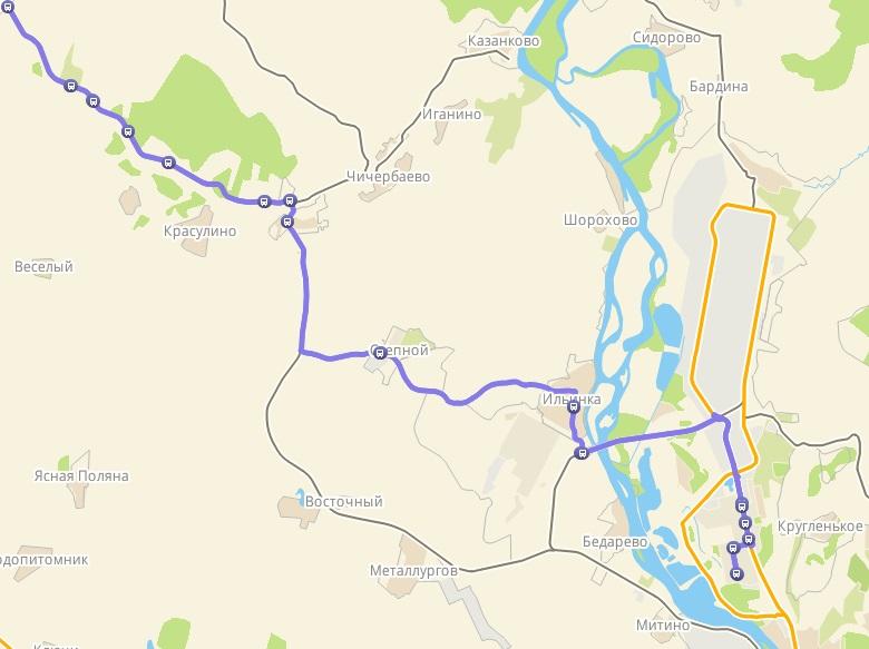 Автобус №111 ДОМ ТВОРЧЕСТВА - МАЛАЯ ТАЛДА | Карта маршрута