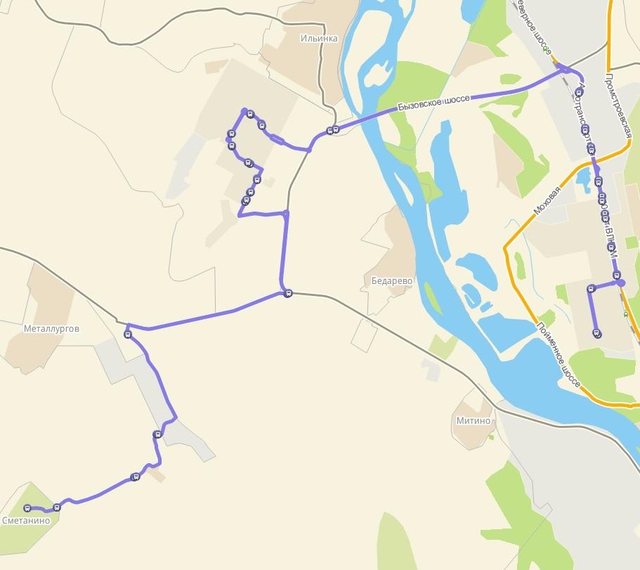 Автобус №112 ДОМ ТВОРЧЕСТВА - СМЕТАНИНО   Карта маршрута