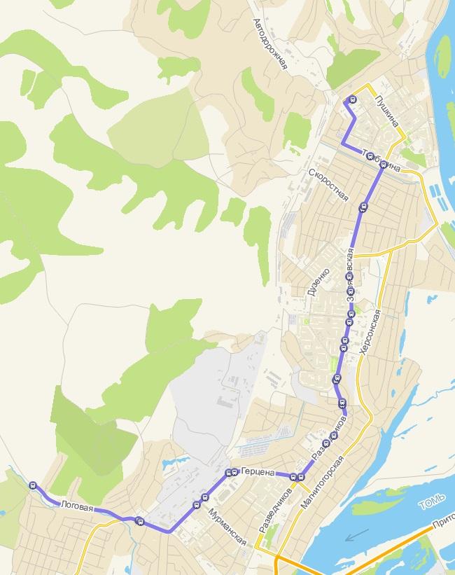 Автобус №12 АБАШЕВО - С/О ЖЕМЧУЖИНА | Карта маршрута