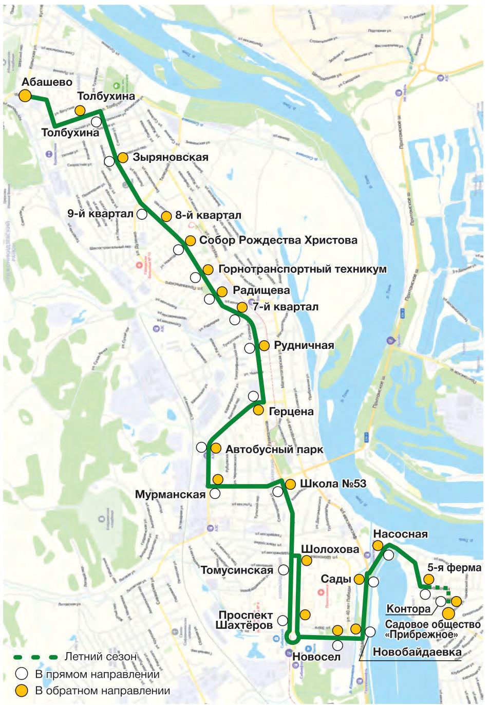 Автобус №13 АБАШЕВО - 5-Я ФЕРМА | Карта маршрута