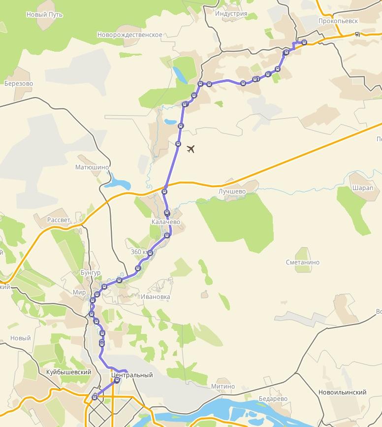 Автобус №151 НОВОКУЗНЕЦК - ПРОКОПЬЕВСК | Карта маршрута