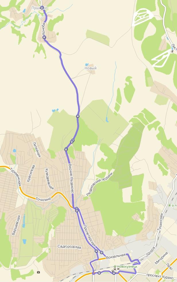 Автобус №153 НОВОКУЗНЕЦК - ПУШКИНО | Карта маршрута