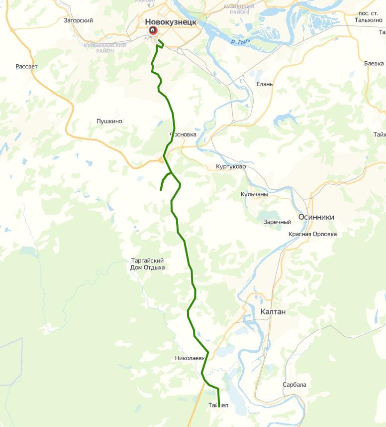 Автобус №154 НОВОКУЗНЕЦК - ТАЙЛЕП | Расписание и маршрут движения