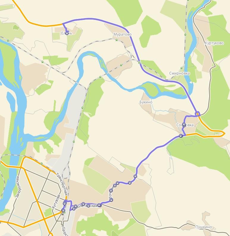 Автобус №155 НОВОКУЗНЕЦК - СОСНОВКА - ЕЛАНЬ | Карта маршрута