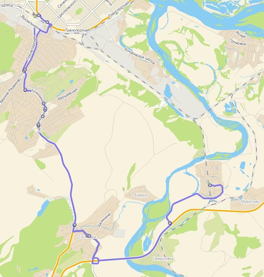 Автобус №158 НОВОКУЗНЕЦК - СОСНОВКА - АБАГУРОВСКИЙ РАЗЪЕЗД | Карта маршрута