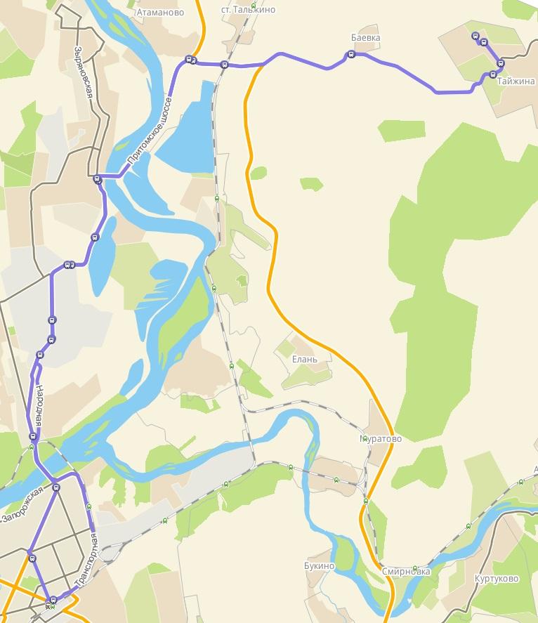 Автобус №164 НОВОКУЗНЕЦК - ВЫСОКИЙ | Карта маршрута