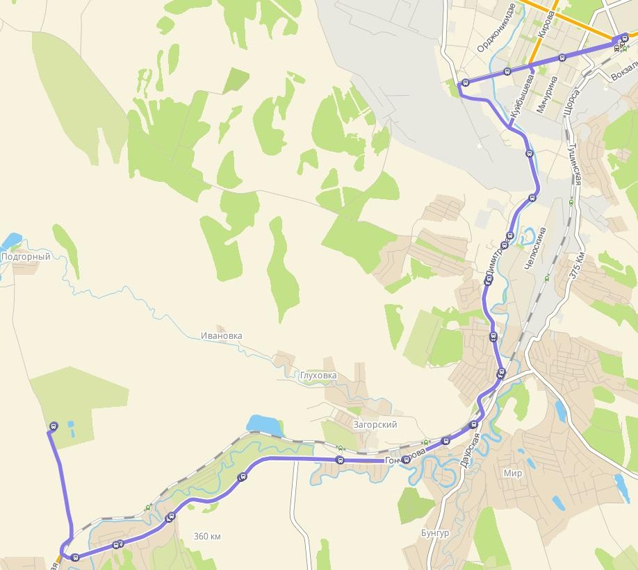 Автобус №165с НОВОКУЗНЕЦК - САДЫ (ПОДГОРНОЕ)   Карта маршрута