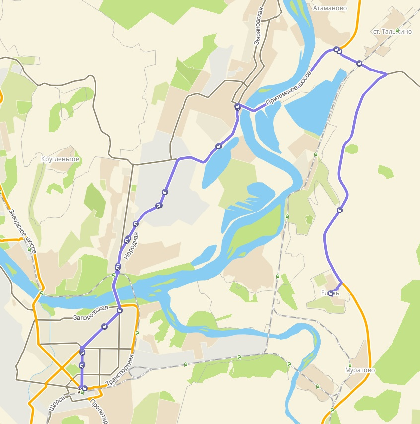Автобус №168 НОВОКУЗНЕЦК - ЕЛАНЬ | Карта маршрута