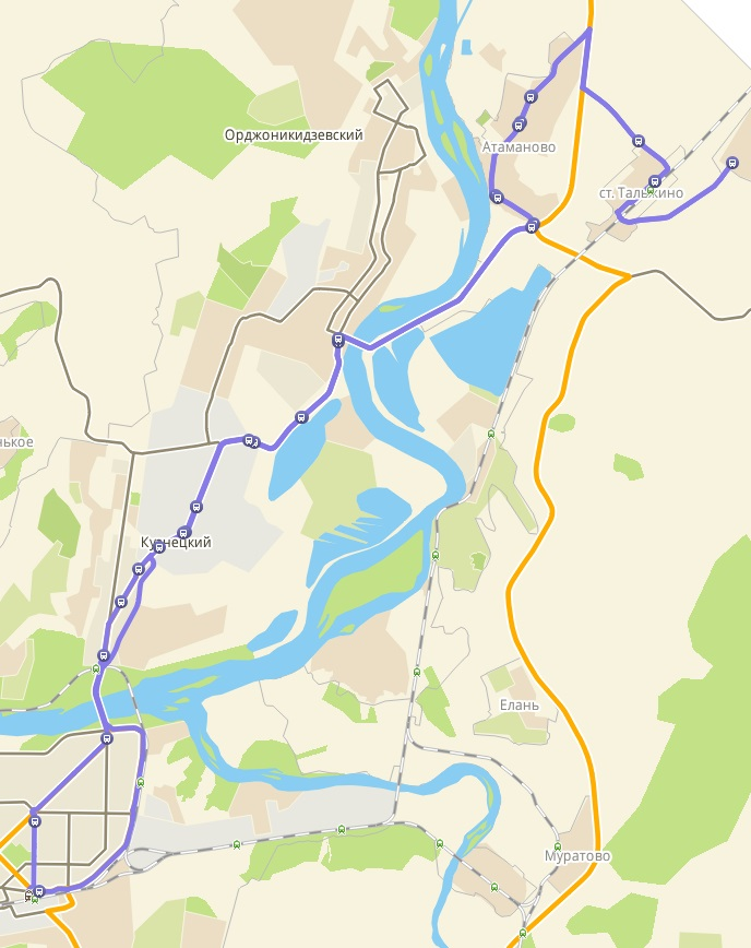 Автобус №169 НОВОКУЗНЕЦК - ИВАНОВКА   Карта маршрута