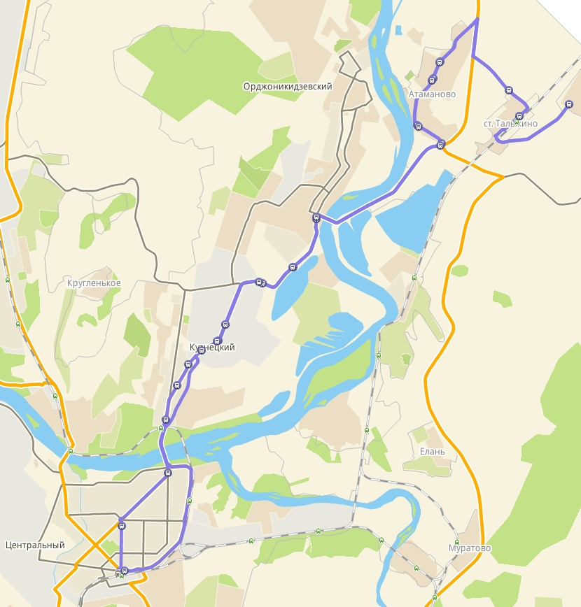 Автобус №169 НОВОКУЗНЕЦК - ИВАНОВКА | Карта маршрута