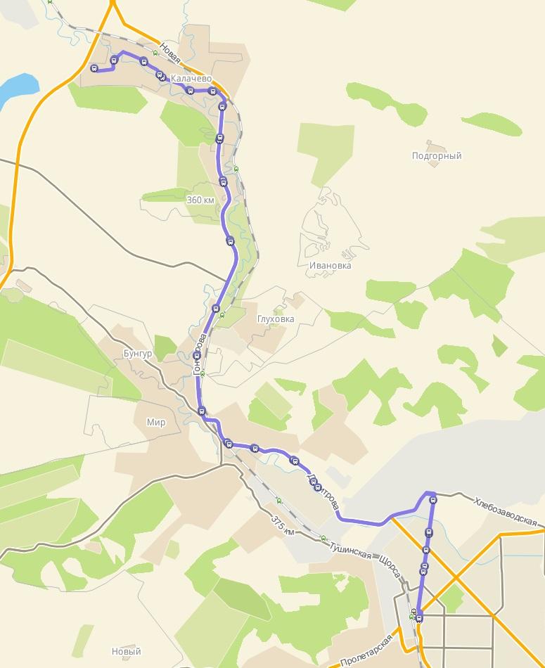 Автобус №170 НОВОКУЗНЕЦК - КАЛАЧЕВО | Карта маршрута