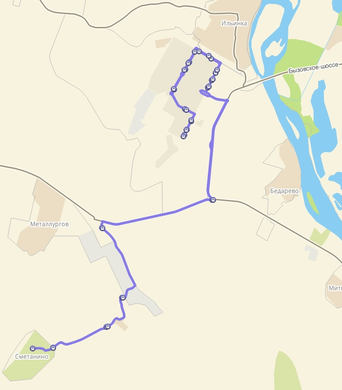 Автобус №183 КОСМОНАВТОВ - СМЕТАНИНО   Карта маршрута