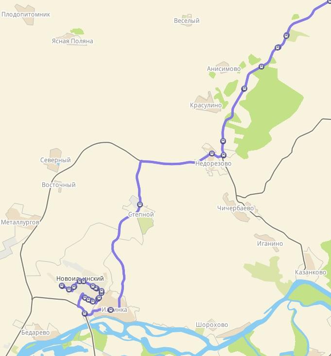 Автобус №187 КОСМОНАВТОВ - МАЛАЯ ТАЛДА | Карта маршрута