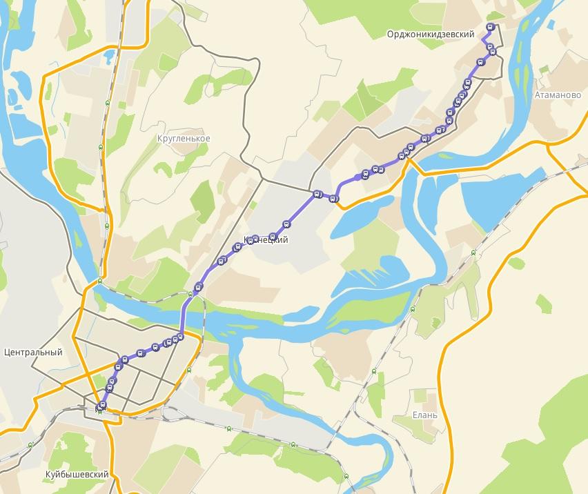 Автобус №5 АБАШЕВО - ВОКЗАЛ | Карта маршрута