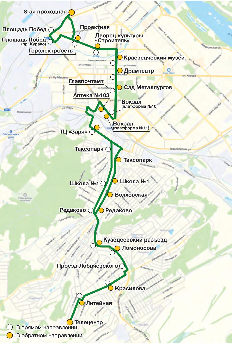 Автобус №54 8-АЯ ПРОХОДНАЯ - ТЕЛЕЦЕНТР | Карта маршрута