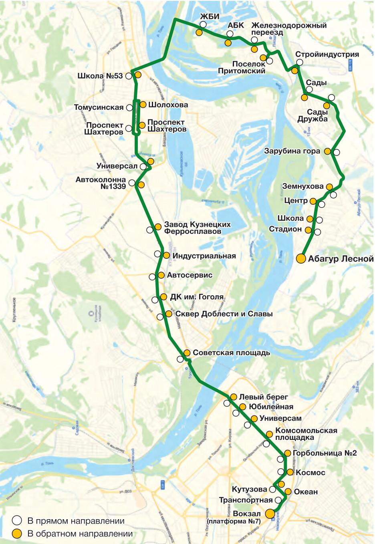 Автобус №56 АБАГУР-ЛЕСНОЙ - ВОКЗАЛ | Карта маршрута